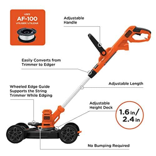 BLACK+DECKER 3-in-1 String Trimmer Lawn Mower - best electrical lawn mower for small lawn