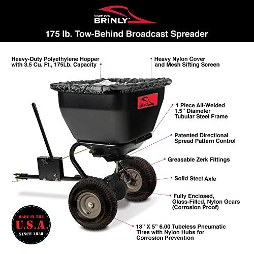 Brinly BS36BH, 175 lb, Black Tow-Behind Broadcast Spreader - best heavy weight seed spreader