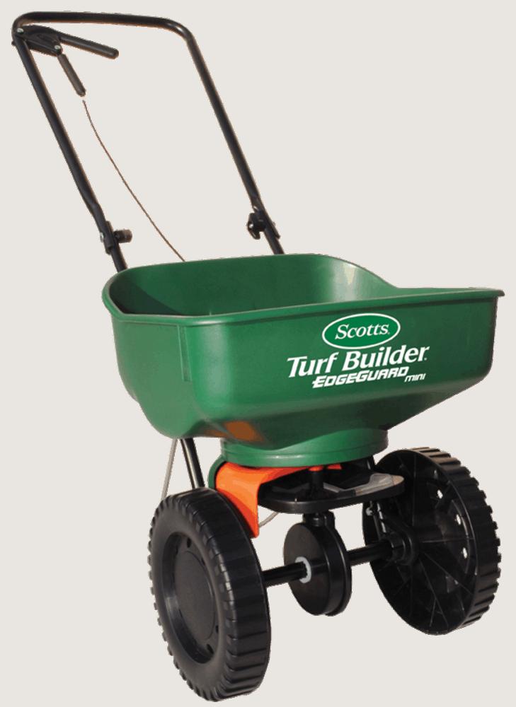 Scotts 76121 Turf Builder EdgeGuard Mini Broadcast Spreader - best lawn spreader for small lawn