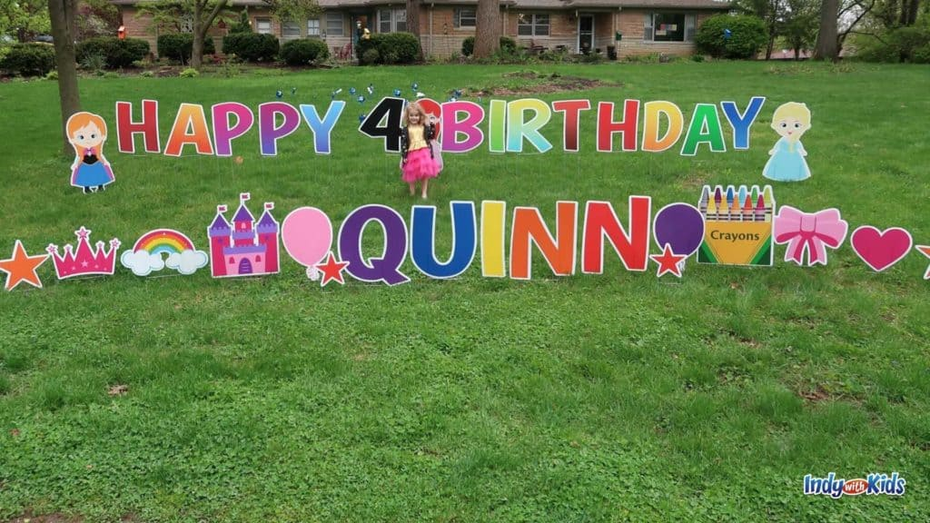 Colorful birthday party lawn design for small lawn