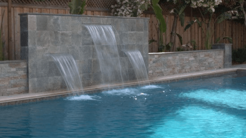 A Wall Fountain and Swimming Pool - Best Outdoor Fountain and Decoration Idea