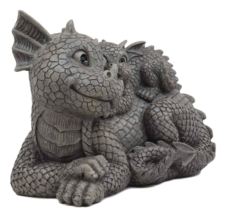 Best Dragon Family Statue For Garden - Whimsical Piggyback Dragon Family Statue