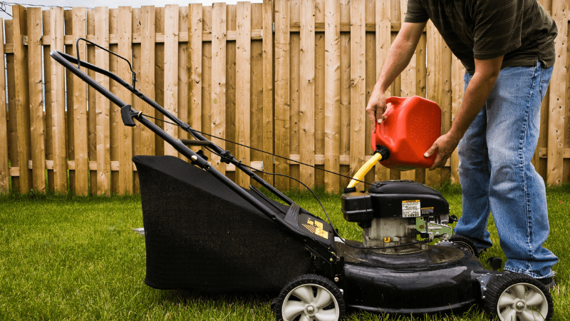 How to put gas in lawn mower