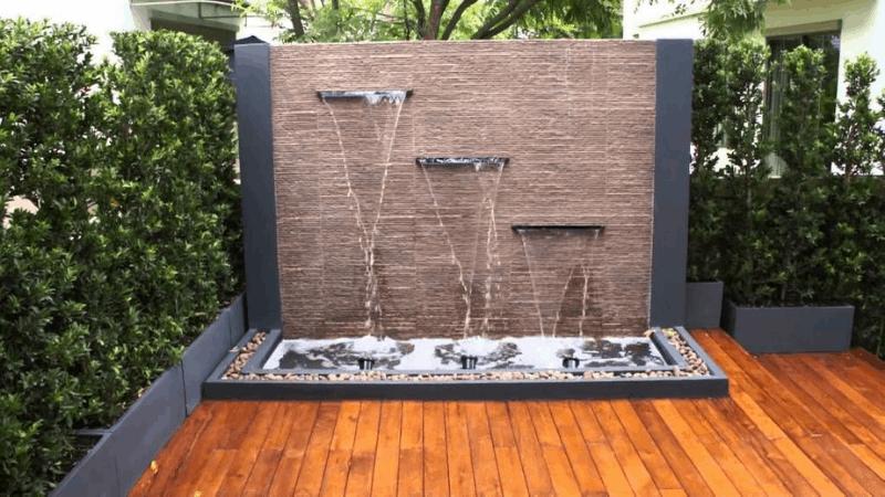 Make a Fountain for Cascading Water- Outdoor Wall Fountain Ideas