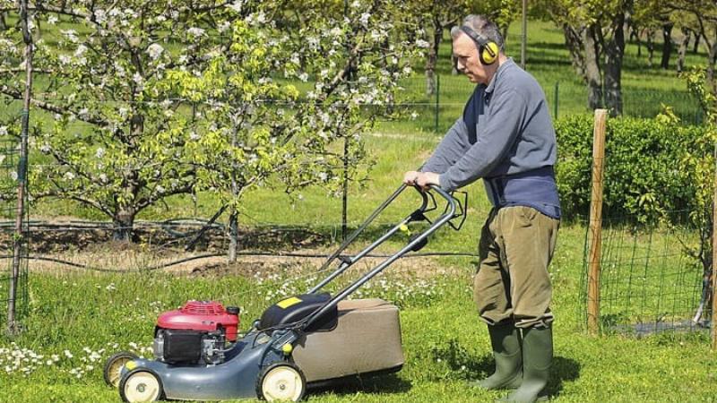 Wear Protective Earplugs while running lawn mower